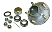 Trailer Hubs include bearings, races, grease seal, lug nuts, cotter pin, dust cap.